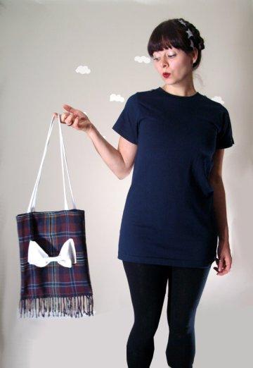 "Pierogi PIcnic: Eco-Friendly Handmade Plaid Bow Bag ""Grunge Love"""