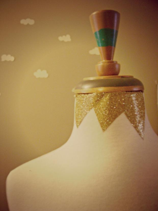 Pierogi Picnic: Sparkly gold glitter mannequin embellishment