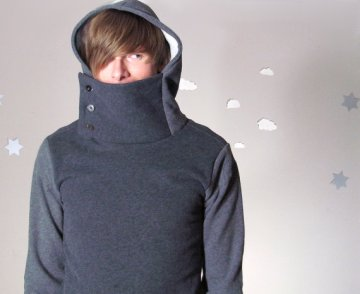 Sir Cycle: Eco Upcycled Men's Cowl Hoodie by Pierogi Picnic