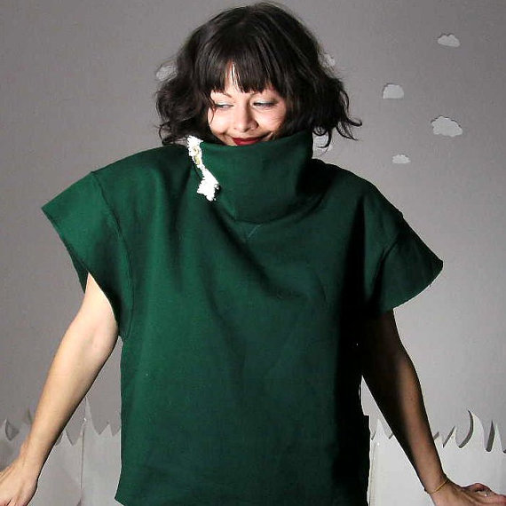 Forest Green Crop Sweater handmade by Pierogi Picnic