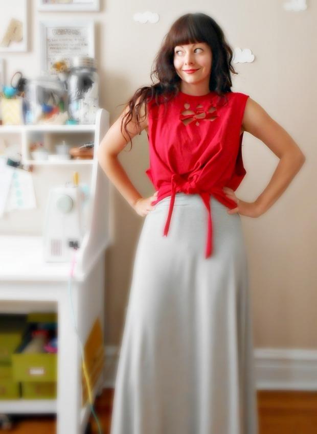 Pierogi Picnic: DIY Upcycled cut-out tie top