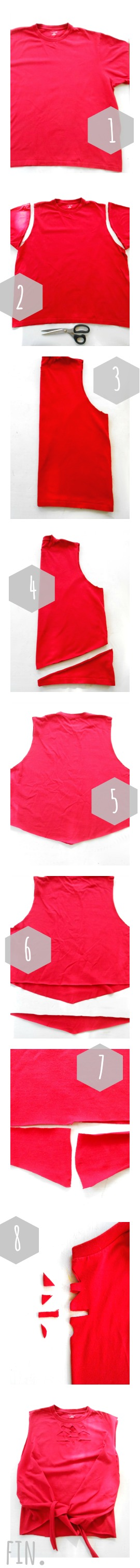 Tutorial: Make your own no-sew tie top tank