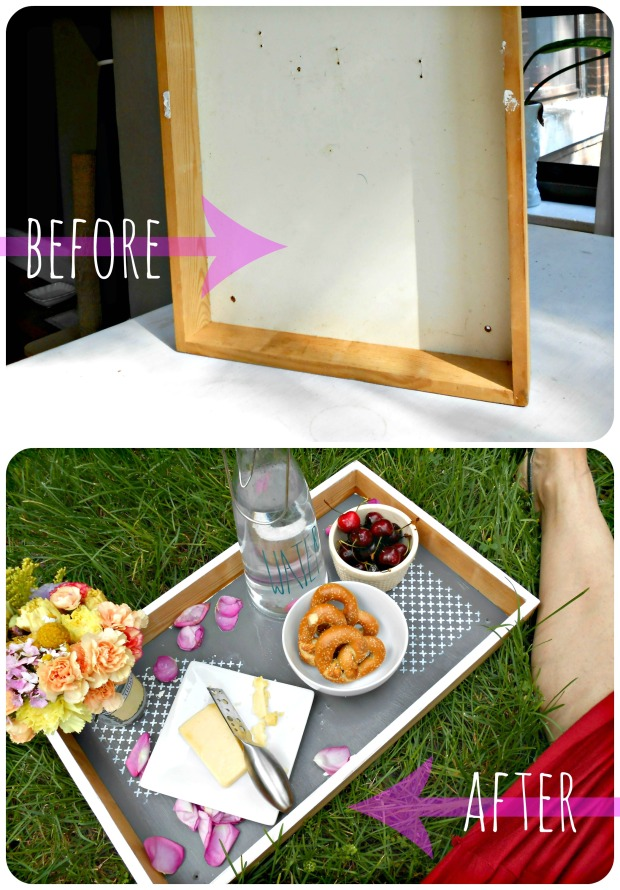DIY upcycled serving tray