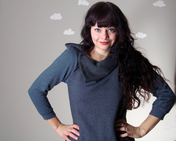 upcycled fabric: womens miss cycle cowl sweatshirt from pierogi picnic