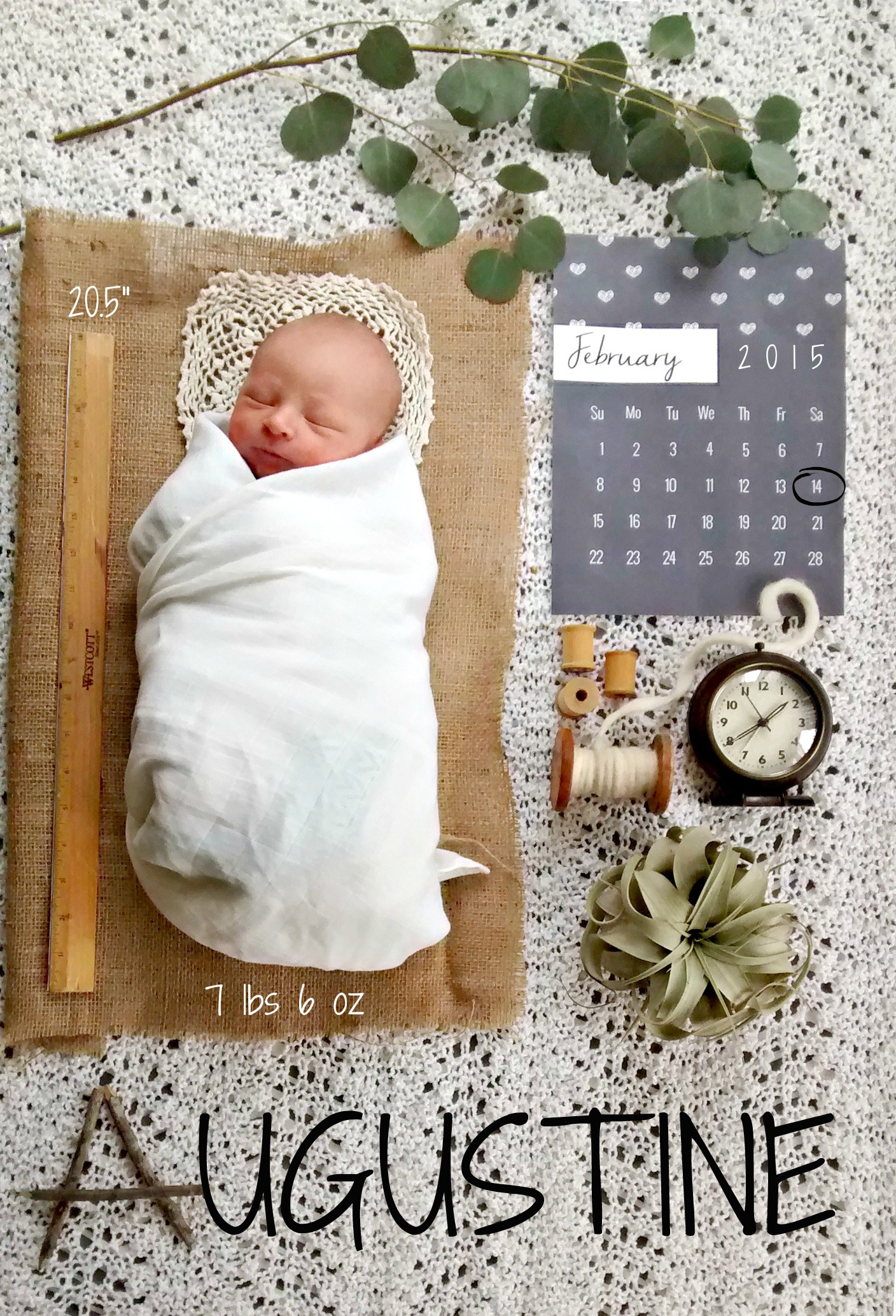 august birth announcement crpped