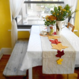 Upcycled Leaf Table Runner